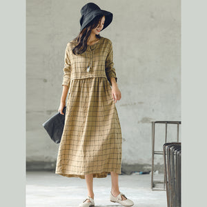 New plaid 2018 fall dress plus size O neck baggy caftans casual large hem linen dresses