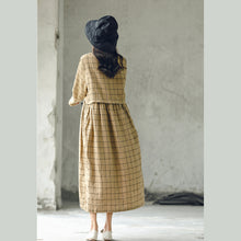 Load image into Gallery viewer, New plaid 2018 fall dress plus size O neck baggy caftans casual large hem linen dresses