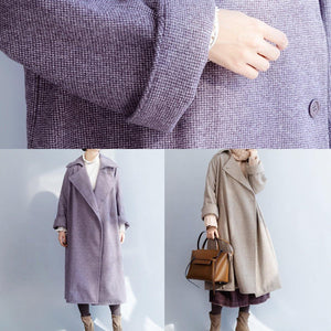 New plus size clothing Winter coat winter coat purple flare sleeve wool overcoat