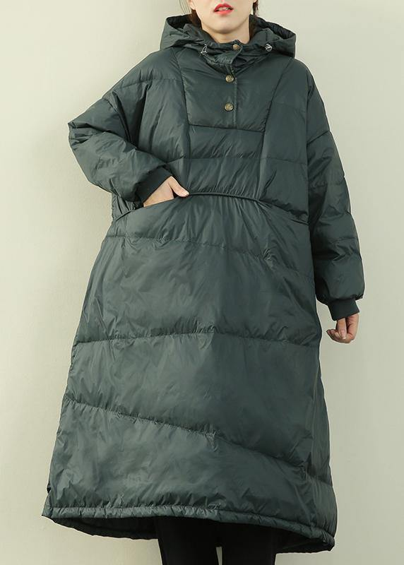 New plus size clothing down overcoat green hooded Button Down goose Down coat