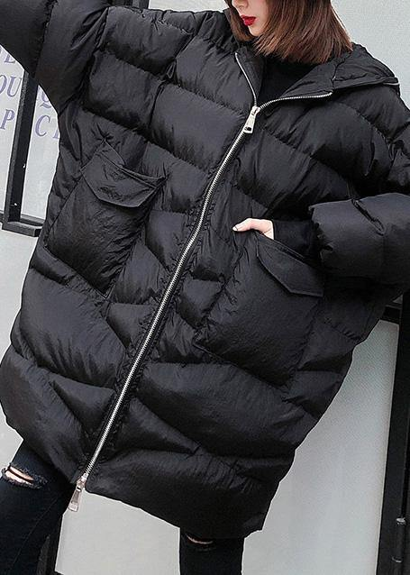 New plus size clothing snow jackets big pockets coats black hooded zippered winter outwear