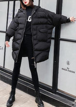 Load image into Gallery viewer, New plus size clothing snow jackets big pockets coats black hooded zippered winter outwear