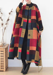 New plus size clothing trench coat  outwear yellow plaid o neck exra large hem wool coat