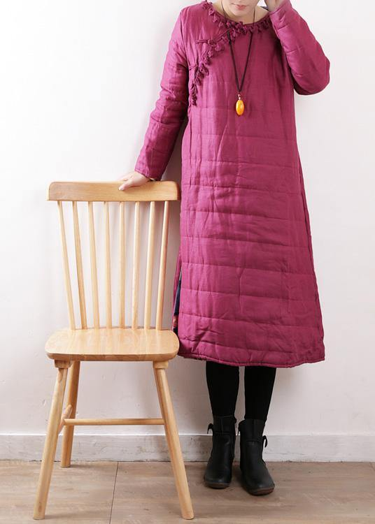 New plus size clothing winter jacket Chinese Button winter coats rose side open casual outfit