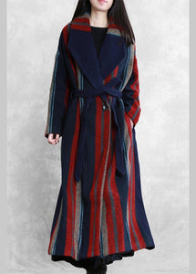 New plus size maxi coat blue red striped Notched tie waist Wool jackets