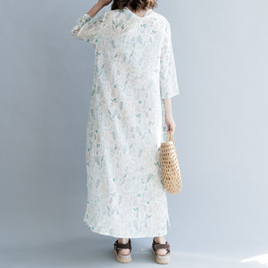New print linen dresses oversized traveling dress casual Three Quarter sleeve v neck baggy dresses