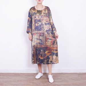 New prints Midi blended dresses plus size traveling dress New bracelet sleeved o neck natural blended dress