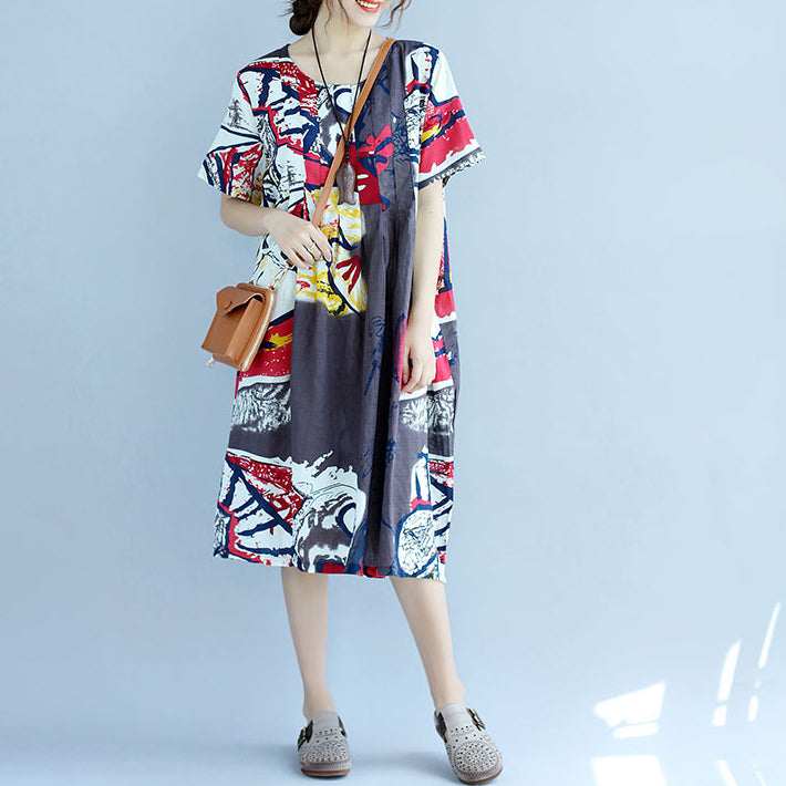 New prints Midi-length cotton dress casual cotton clothing Fine short sleeve o neck cotton dress