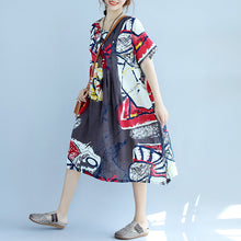 Load image into Gallery viewer, New prints Midi-length cotton dress casual cotton clothing Fine short sleeve o neck cotton dress
