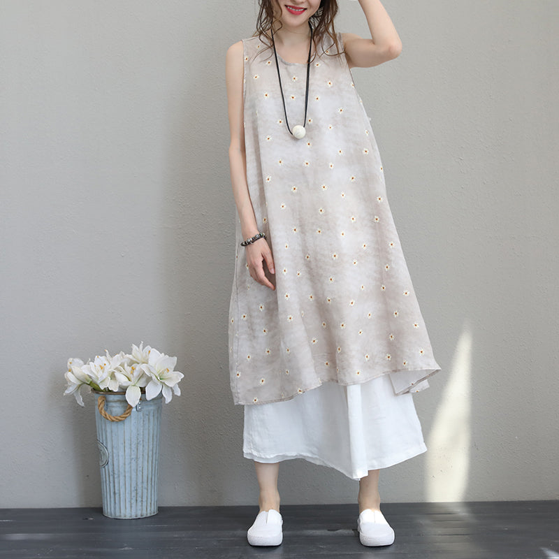 New prints silk linen maxi dress Loose fitting sleeveless linen clothing dresses New big hem linen caftans
