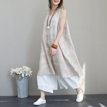Load image into Gallery viewer, New prints silk linen maxi dress Loose fitting sleeveless linen clothing dresses New big hem linen caftans