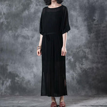 Load image into Gallery viewer, New pure linen tops plus size Lacing Knitting Dress Black Two Pieces With Suspenders