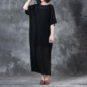 New pure linen tops plus size Lacing Knitting Dress Black Two Pieces With Suspenders