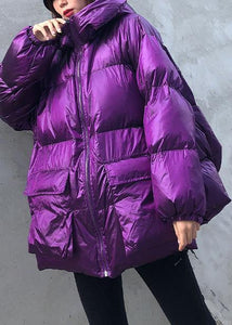 New purple Parkas for women plus size winter hooded pockets outwear