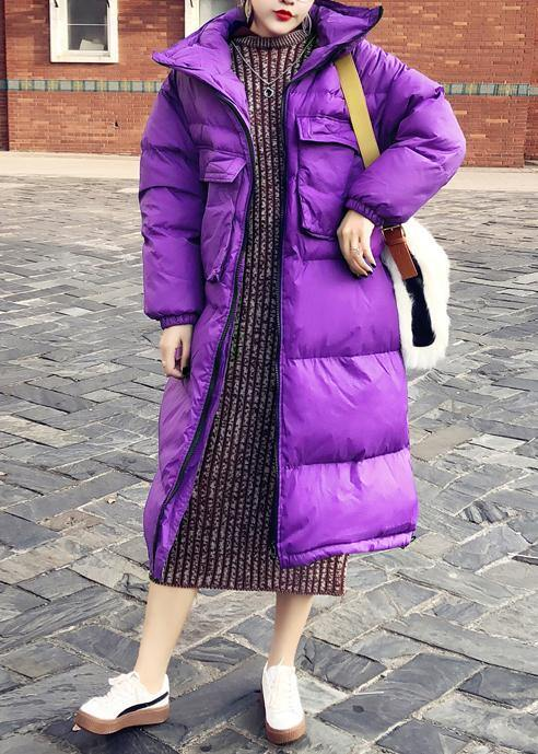 New purple down coat winter trendy plus size snow jackets stand collar wrinkled Elegant Jackets