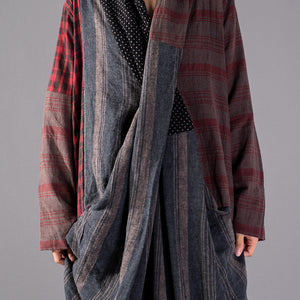New red Plaid oversize v neck patchwork linen clothing dress women pockets asymmetrical design caftans