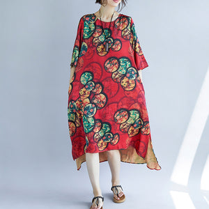 New red cotton blended dresses casual print Half sleeve cotton blended dress casual o neck dresses