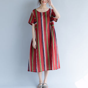 New red cotton linen maxi dress trendy plus size O neck traveling clothing 2018 striped short sleeve gown