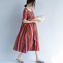 Load image into Gallery viewer, New red cotton linen maxi dress trendy plus size O neck traveling clothing 2018 striped short sleeve gown