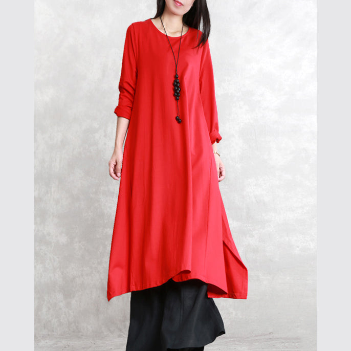 New red fall dress trendy plus size O neck asymmetrical design traveling clothing fine long sleeve side open maxi dresses
