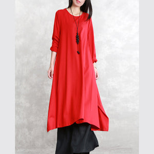 New red fall dress trendy plus size O neck asymmetrical design traveling clothing top quality long sleeve side open maxi dresses