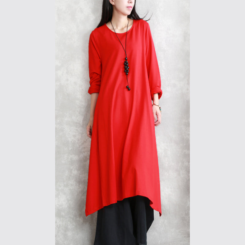 57ba9982b934d New red fall dress trendy plus size O neck asymmetrical design traveling  clothing top quality long ...
