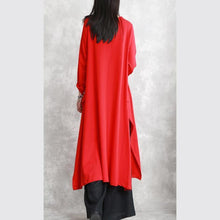 Load image into Gallery viewer, New red fall dress trendy plus size O neck asymmetrical design traveling clothing fine long sleeve side open maxi dresses