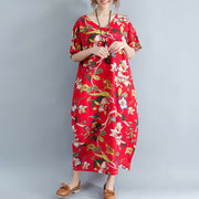 New red linen dress oversized floral cotton maxi dress Elegant short sleeve gown