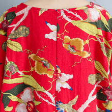 Load image into Gallery viewer, New red linen dress oversized floral cotton maxi dress Elegant short sleeve gown