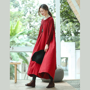 New red plus size clothing O neck embroidery caftans boutique long sleeve large hem dresses