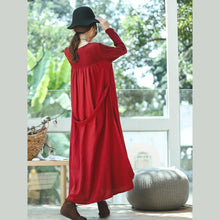 Load image into Gallery viewer, New red plus size clothing O neck embroidery caftans boutique long sleeve large hem dresses