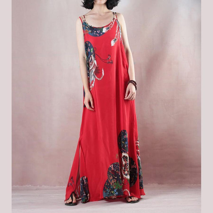 New red print holiday dress o neck sleeveless gown a silk skirts maxi dress