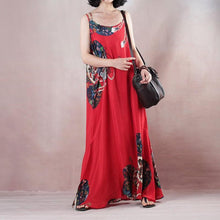 Load image into Gallery viewer, New red print holiday dress o neck sleeveless gown a silk skirts maxi dress