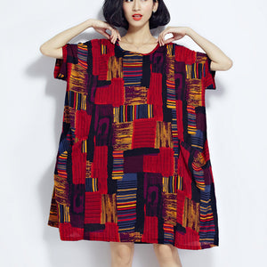 New red prints cotton dress trendy plus size cotton clothing dresses New o neck short sleeve midi dress