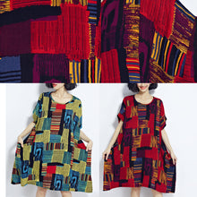 Load image into Gallery viewer, New red prints cotton dress trendy plus size cotton clothing dresses New o neck short sleeve midi dress
