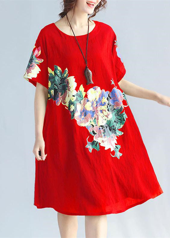 New red prints linen dress plus size traveling clothing Elegant wild short sleeve o neck cotton dresses