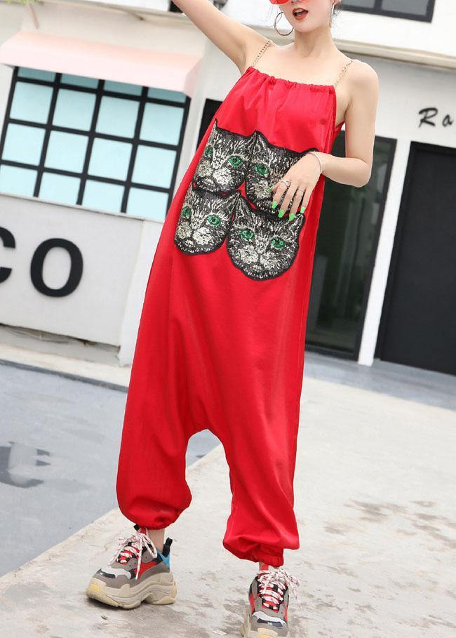 New red tide straps trousers embroidery cat head loose jumpsuit female summer strap pants