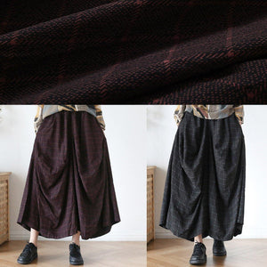 New retro long section loose large size wild plaid irregular wide leg pants