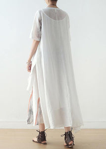 New silk and linen dress female ink printing and dyeing literary loose round neck short sleeve long skirt
