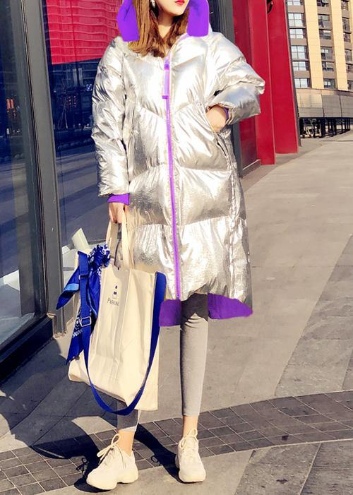 New silver patchwork purple down jacket woman Loose fitting snow jackets hooded zippered Casual Jackets