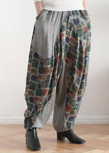 Load image into Gallery viewer, New stitching printed cotton and linen pants loose large size casual pants