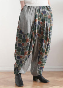 New stitching printed cotton and linen pants loose large size casual pants