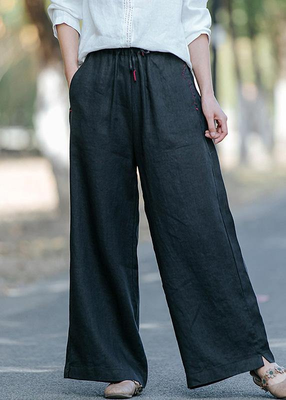 New style literature and art black casual pants Elastic Waist Wide Leg Pants