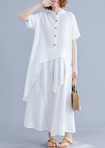 New suit retro silk hemp white irregular short-sleeved shirt + elastic waist strap wide-leg pants