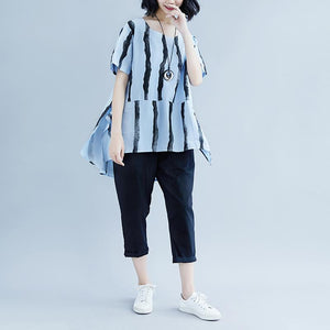 New summer cotton blended t shirt plus size Short Sleeve Summer  Stripe High-low Hem Blue Tops