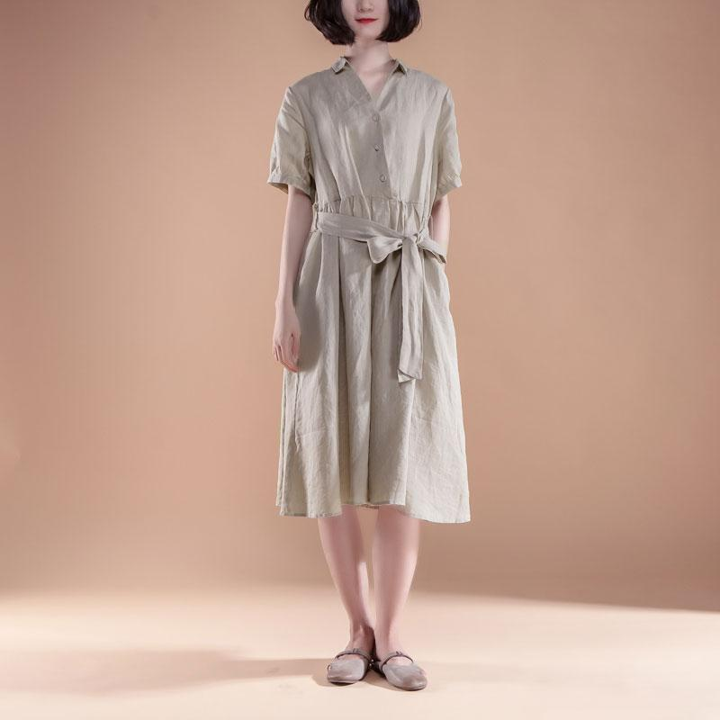 New summer dresses Loose fitting Short Sleeve Pleated Belt Summer Casual Beige Dress