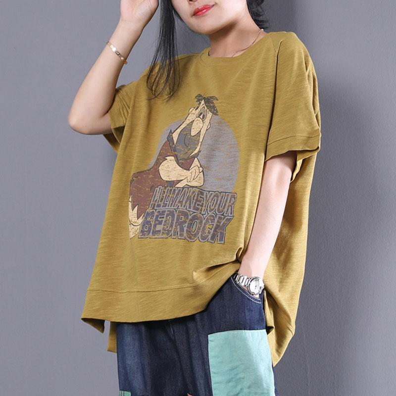 New summer t shirt plus size Cartoon Letter Printed Short Sleeve T-shirt Women Tops