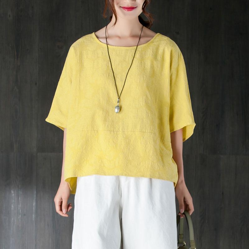 New summer t shirt plus size clothing Loose 12 Sleeve Yellow Jacquard Cotton Tops