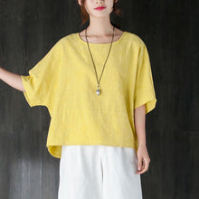 Load image into Gallery viewer, New summer t shirt plus size clothing Loose 12 Sleeve Yellow Jacquard Cotton Tops