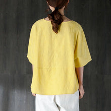 Afbeelding in Gallery-weergave laden, New summer t shirt plus size clothing Loose 12 Sleeve Yellow Jacquard Cotton Tops
